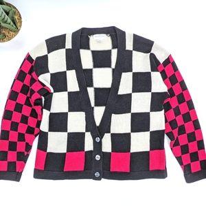 Vintage 80s 90s Checkered Ska Cardigan Ann Taylor